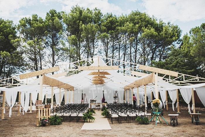 Decoración de la boda en obras en Madrid por Mangata Eventos