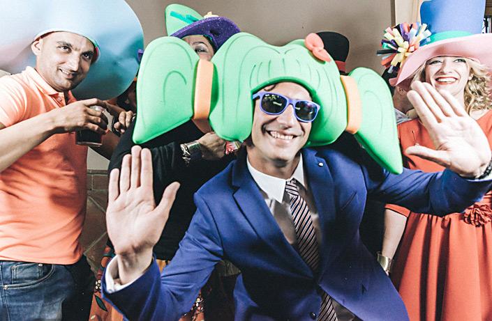 Photobooth con fotos de una boda en el Pinar Rendón